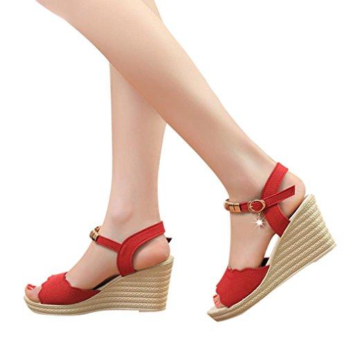 Beikoard -30% promozione della moda sandali donna taco sandali con tacco alto con fibbia e sandali con tacco alto (rosso, 39)