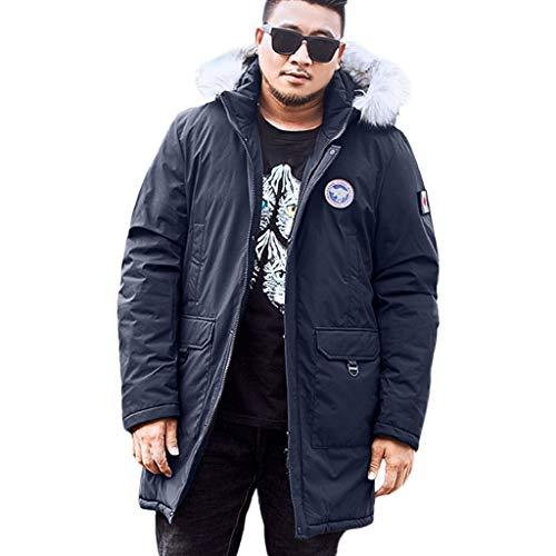 Luckycat Herren Winter mittlerer Länge Reißverschluss Plus Größe mit Kapuze Tasche verdickt Baumwollmantel Mode 2018