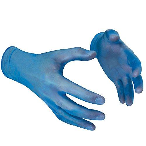 Polyco Gants jetables en vinyle sans poudre – Parent, GL843 Blue Vinyl PF