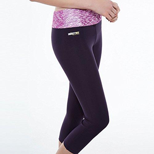 Honeybee Leggings Yoga Push Up Capri 3/4 pour femme, pantalon de sport avec une poche intérieure,noir medium HB01 Violet