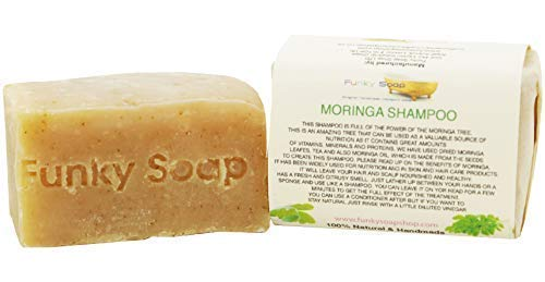 Funky Soap Moringa Champú Barra , 100% Natural Hecho a Mano, 1 Barra de 120g
