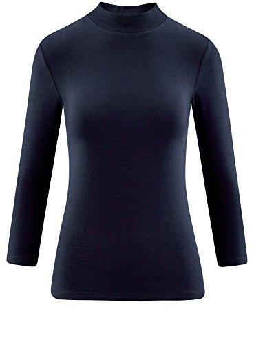 oodji Ultra Damen Tagless Baumwoll-Langarmshirt mit Stehkragen und 3/4-Arm Blau (7900N)