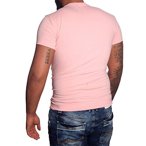 Subliminal Mode - T-shirt V-kragen Herren Bogen Mehrfarbig Mode Ck02 Polo Hemd Rosa