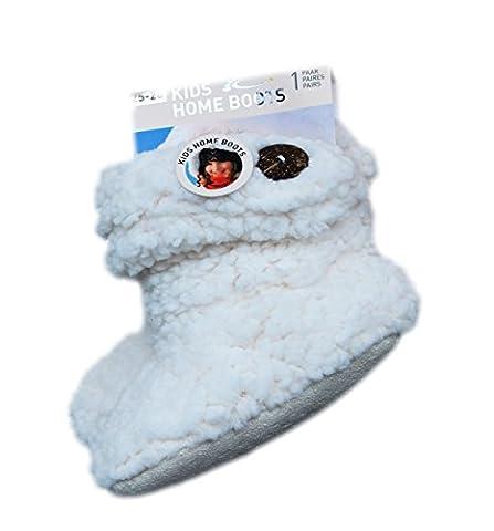 Kinder Teddy-Home Slipper,seitl.- Knopf-Applikation,innen mit weichem Teddyfutter in