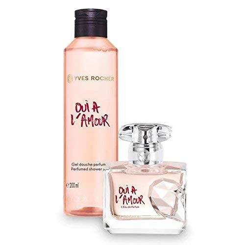 Geschenk Set Parfüm-extrakt (Yves Rocher OUI À L'AMOUR Duft-Set, blumig orientalisches Geschenk-Set mit Eau de Parfum & Duschgel)