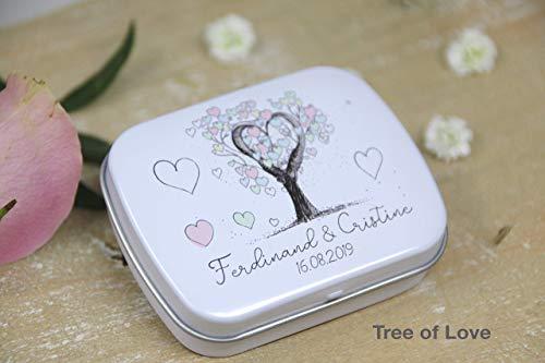 3 STÜCK Geschenke für Hochzeitsgäste - Gastgeschenke zur Hochzeit - kleine Geschenke für Gäste - direkt bedruckte PERSONALISIERTE Döschen - viele Motive zur Auswahl