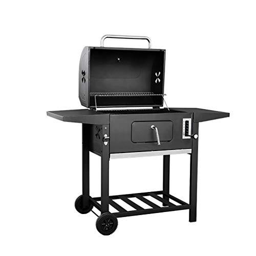 er Holzkohle-BBQ-Grill, Raucher-Barbecue-Grills im Freien mit Rädern, hängenden Haken u. Flaschenöffner für das Kampieren, das das Picknick-Patio-Hinterhof-Kochen wandert ()