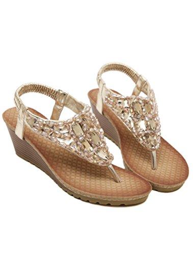 Vogstyle Femme Sandales Compensées Tongs Semelle Chaussures Plates Eté Flip Flops Style 6 Or