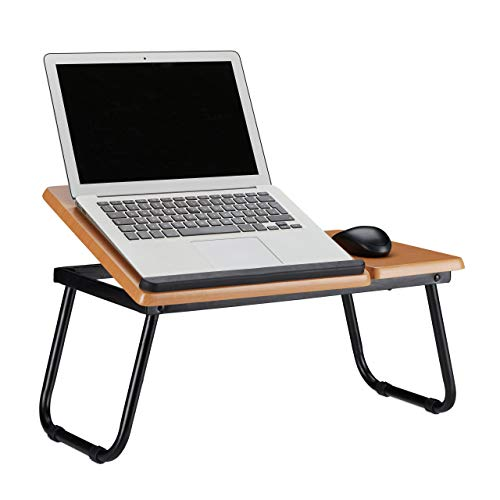 Relaxdays, 23,5 x 56,3 x 31,6 cm, Marrón Mesa Ordenador Portátil para Sofá y Cama, Reclinable, DM