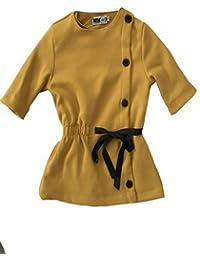 Garbantex vestido niña en color con botones cruzados y lazo en cintura