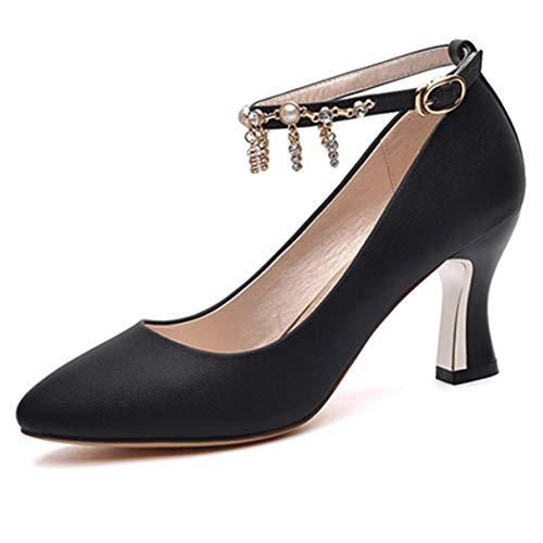 Stilvolle Damen Pumps Spitzschuh Knöchelriemen Damen Elegante High Heel ()