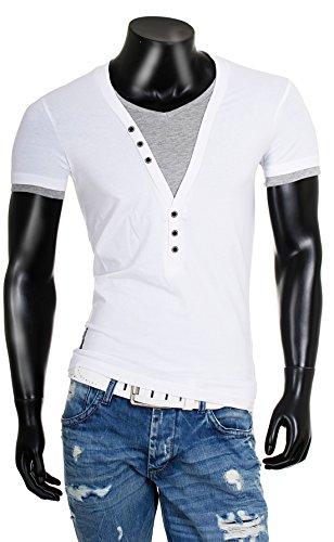 CARISMA Herren double Look T-Shirt deep v-neck tiefer V-Ausschnitt slim fit Kontrast Optik tee Weiß