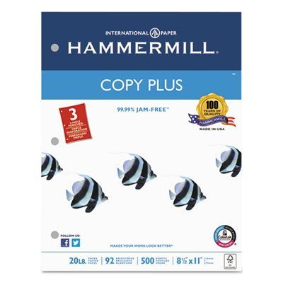 Copy Plus Copy Paper, 3-Hole Punch, 92 Brightness, 20lb, Ltr, White, 500 Shts/Rm, Sold as 1 Ream by Hammermill