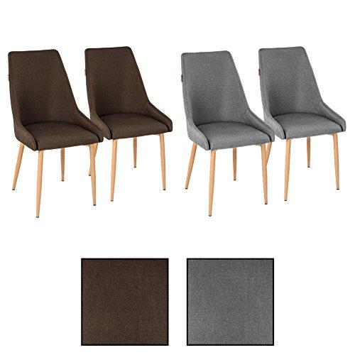 ESTEXO 4X Retro Esszimmerstühle Stoffbezug braun Küchenstühle Stühle Esszimmer (Braun Hohe Rückenlehne Esszimmer Stuhl)