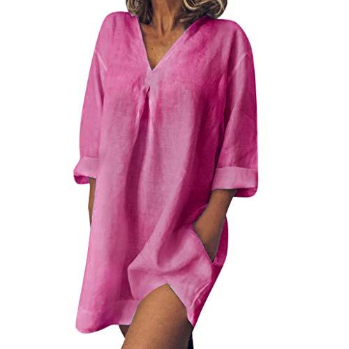Sommer Damen V-Ausschnitt Leinen Kleid Knielang  2019 Retro Elegant Freizeit Kurzarm Einfarbig Freigabe A-Line Mode Bequem Strandkleid (XXL, Hot Pink)