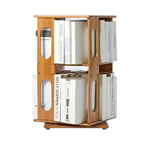 CXQ Moderne minimalistische Massivholzregale Rack Table Runde Zwei-Tier-Desktop-Bücherregal Studenten können Bücherregal Drehen -