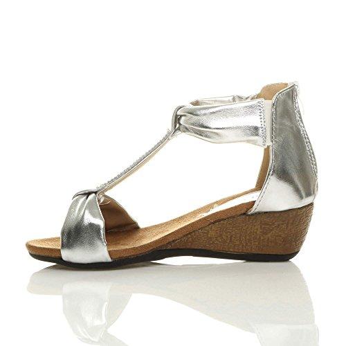 Femmes talon moyen bas strass salomé semelle compensée sandales pointure Argent métallique