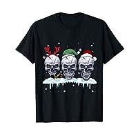 Three Skull Santa Claus Funny Christmas Reindeer Santa Elf T-Shirt