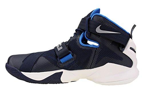 Nike Lebron Soldier Ix, Chaussures de Sport-Basketball Homme Midnight Navy / White / Photo Blue / Metallic Silver - Marine / Blanc / Bleu / Argent