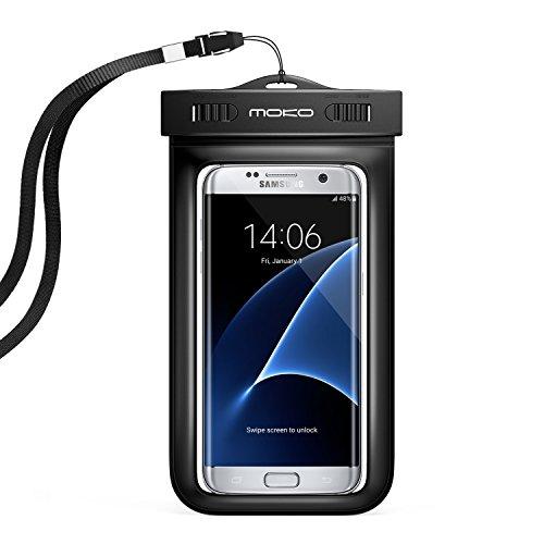 MoKo Universal Schutzhülle Tasche wasserdicht mit Umhängeband und Sportarmband für iPhone 5SE/6S Plus/6PLUS/6S/6/5S, Galaxy S7/S7Edge/ZenFone 2/2./LG G Flex 2–IPX8Certified, Schwarz (Ipod Touch 6 Gehäuse Wasserdicht)