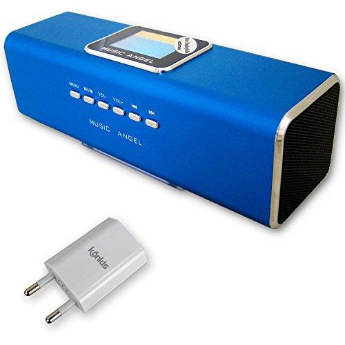 Geschenk-Set Music Angel - Mini Lautsprecher mit Radio, Stereo Boxen mit USB- & MicroSD-Slot, Wecker, Uhr & Line-In + passendem USB-Netzteil 1000mAh (blau)