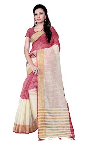 SareeShop Women's With Blouse Piece Saree (ChanderiMaroon_maroon_Free Size)