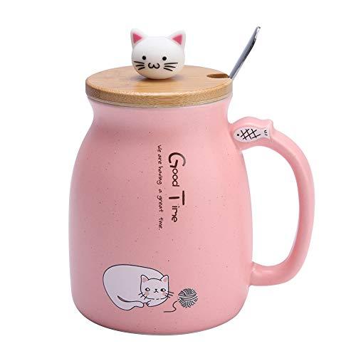 Esta taza de cerámica con patrón de gato es muy linda. Tiene una cuchara y una tapa, ideal para tomar café, leche, té, nbsp; agua, etc. Puede ser un excelente regalo de cumpleaños para sus amigos, familiares, etc.    Características:   1. Hecho de ma...