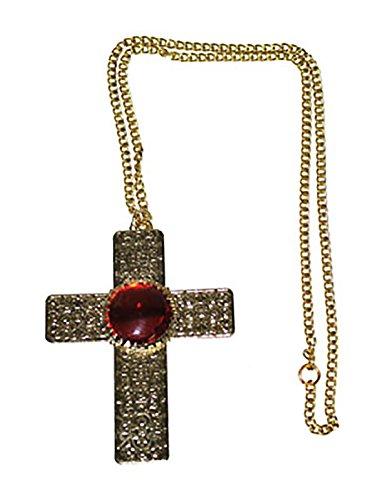 erdbeerclown - Kostüm Kette - Kreuz aus Metall - 9 x 7cm, Gold