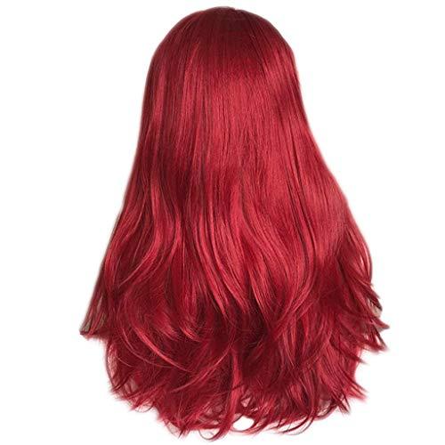 ToDIDAF Volle Perücken für mittlere und ältere Menschen Vordere Spitze Innennetz Glattes langes Mode-Kunsthaar, Rote natürliche gerade Perücke, Natürlich aussehend und hitzebeständig, 26 Zoll