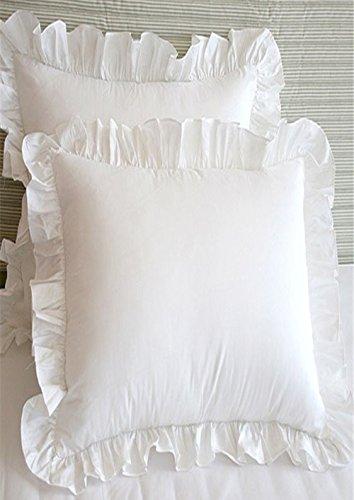 Meaning4 Überwurf Kissenbezüge mit Saum Rüschen Baumwolle weiß 45,7x 45,7cm Set von 2, weiß, 45x45cm(18x18inches)