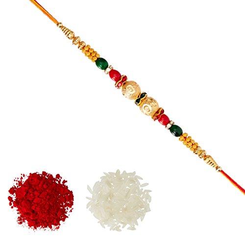 Aheli Fancy Golden Ball Red Green Beads Rakhi with Roli Chawal Tilak for Men Boys (Golden) (R17452F)