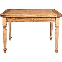 Tavolo allungabile a libro Country in legno massello di tiglio finitura naturale 120x120x80 cm