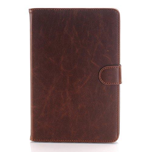 iPad Mini 4Caso, Meiya-Custodia a portafoglio in pelle con supporto e funzione automatica sleep/Awake per iPad Mini 4(2015) DARK BROWN