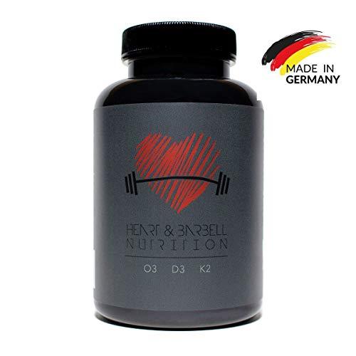 Heart & Barbell O3-D3-K2 (Für Athleten & Sportler) - 240 Kapseln mit Vitamin K, Vitamin D & Omega 3 Fettsäuren -
