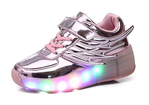 Mr.Ang Skateboard Schuhe mit LED 7 Farbe Farbwechsel Lichter blinken Räder SchuheTurnschuhe Jungen und Mädchen Flügel-Art Rollen Verstellbare neutral Kuli Rollschuh Schuhe