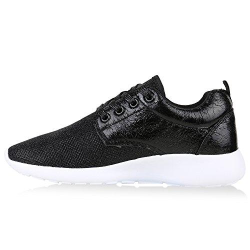Damen Sportschuhe Muster  Laufschuhe Runners   Sneakers Schuhe Strass Metallic Schwarz Glanz