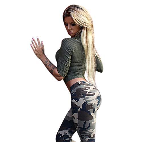 SODIAL Frauen Camouflage Gedruckt Leggings Lange Bleistift Hosen Mode Butt Lift Duenne Yogahose Gym Workout Fitness Kleidung S