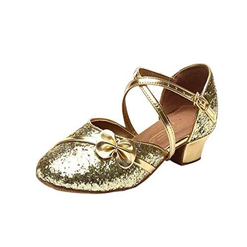 Prinzessin Schuhe mit Absatz Kinder High-Heels Tanzschuhe Pailletten Karneval Latin Schuhe -