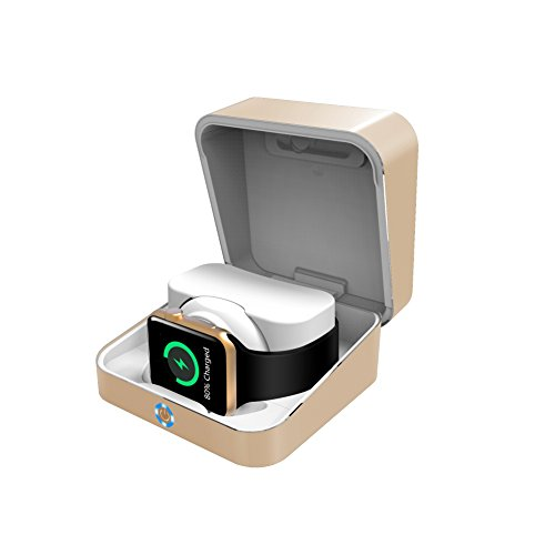 Lade Box 5.000mAh + Pocketpowerbank 500mAh Gold für Apple Watch 1, 2 & 3 (Pocket Watch Aufbewahrungsbox)