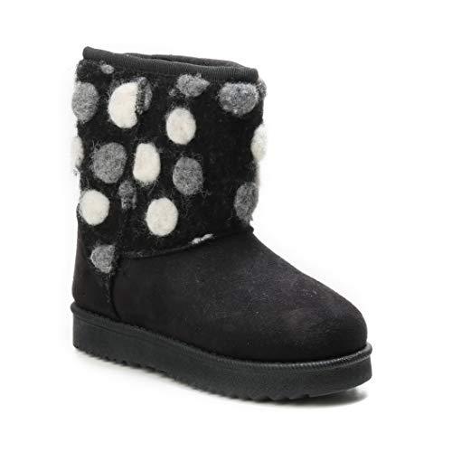 HERIXO Damen Baby Kinder Mädchen Junge Schuhe Winter-Boots Snowboots Muster-Schaft Gemustert Schnee Fell-Stiefel warm dick gefüttert Futter Schlupfstiefel(33 EU,Black)