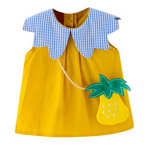 Allence Neugeborenes Kleinkind-Kind-Baby-Mädchen-Sleeveless beiläufige -Prinzessin Dress Sundress Clothes Baby Ärmel Plaid Kragen Print Ananas Tasche Kleid