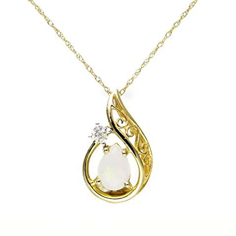 Ivy Gems 9ct Yellow Gold Opal and Diamond Fancy Tear Drop Pendant with 46cm Prince of Wales Chain