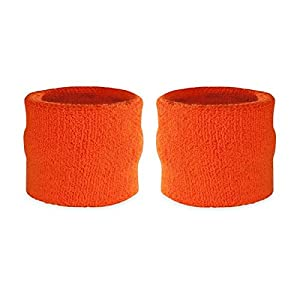 Suddora polsini assorbi sudore per bambini, in cotone e spugna, polsini per sport (1 paio), Orange