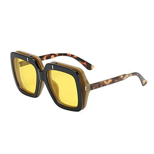 c1723cf501a98 Crazboy Women Man Vintage Big Frame clamshell Sunglasses Retro Eyewear  Fashion (Gelb