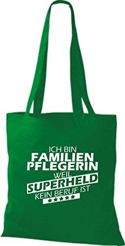 Shirtstown Stoffbeutel Ich bin Familien Pflegerin, weil Superheld kein Beruf ist kelly