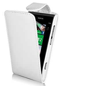 Supergets® Nokia Lumia 800 White Top flip PU Leather case, Screen Protector and Polishing Cloth