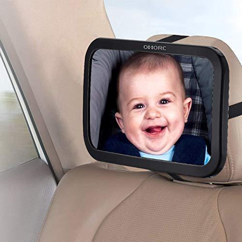 OMORC Espejo Retrovisor de Bebé para Vigilar al Bebé en el Coche, 360° Ajustable Irrompible Interior Espejo para Silla Trasera de Bebé, para Asientos de Niños Orientados hacia Atrás