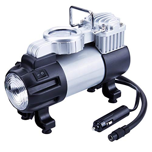 YLJYJ Luftpumpe 12 V Reifenfüller - Messgerät Heavy Duty Direct Drive Metall Pumpe 150PSI tragbar Air Kompressor mit LED Leuchte und Akku Klemme -