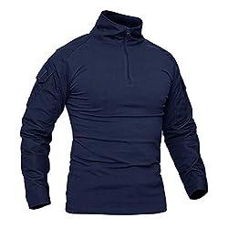 KEFITEVD Herren T-Shirt 1/4 Reißverschluss Männer Tactical Shirt mit Klettverschluss Elastisch Wandershirt Taktisch Combat Shirt Outdoorhemd Trekking Klettern Navy Blau L (Etikett: 2XL)