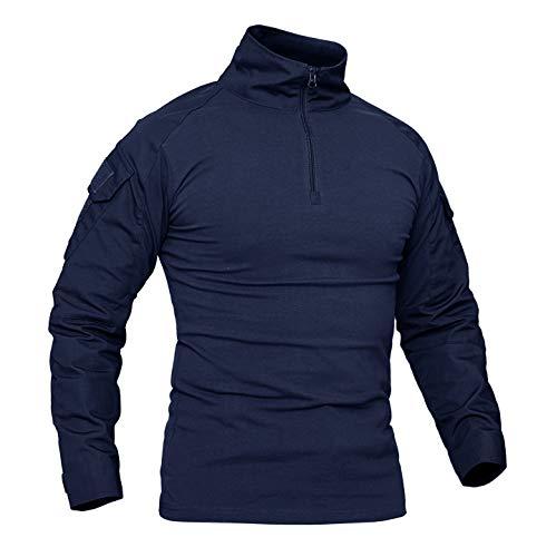 KEFITEVD Herren T-Shirt 1/4 Reißverschluss Männer Tactical Shirt mit Klettverschluss Elastisch Wandershirt Taktisch Combat Shirt Outdoorhemd Trekking Klettern Navy Blau XL (Etikett: 3XL) -
